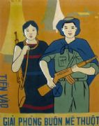 Vintage Vietnamese Man and Woman Soldiers Ready For War Poster